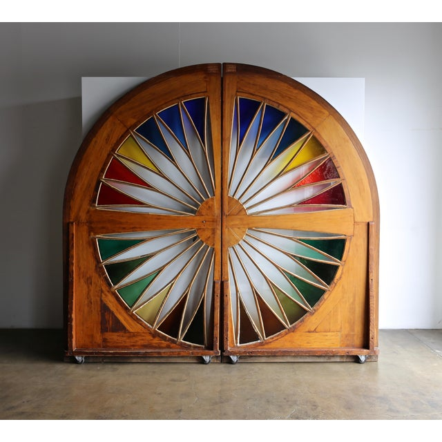 Monumental Stained Glass Sliding Doors Circa 1970 - a Pair For Sale - Image 12 of 13