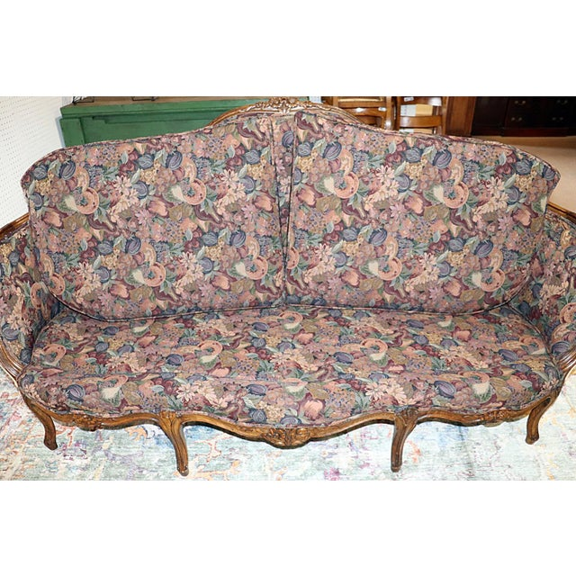 Louis XV Style Carved Walnut Tapestry Sofa For Sale - Image 12 of 13