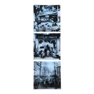 Square Glass Vintage Photo Trays With Parisian Café Scenes - Set of 3 For Sale
