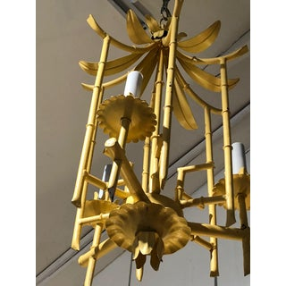 Stylish Hollywood Regency Pagoda Tole and Faux Bamboo Chandelier Pendant Preview
