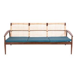 Hans Olsen for Juul Kristensen Teak Cane & Upholstered Sofa For Sale