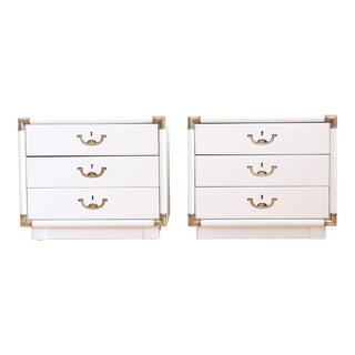 Drexel Campaign White Nightstands - A Pair