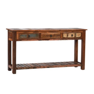 Reclaimed Wood Console with Drawers For Sale
