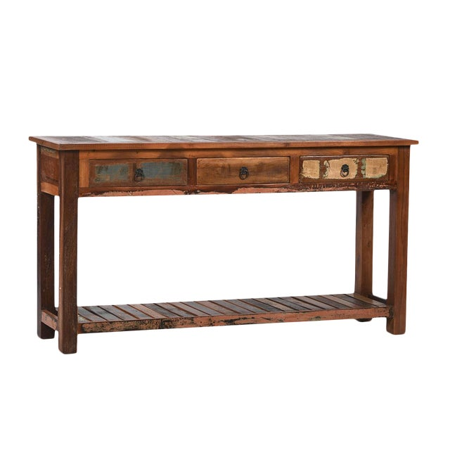 Reclaimed Wood Console with Drawers - Image 1 of 2