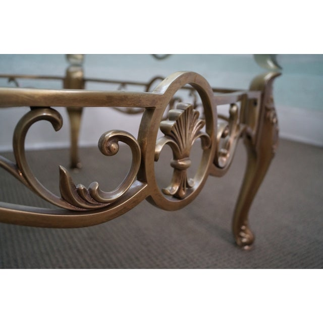 Vintage Brass & Glass French Louis XV Coffee Table - Image 6 of 10