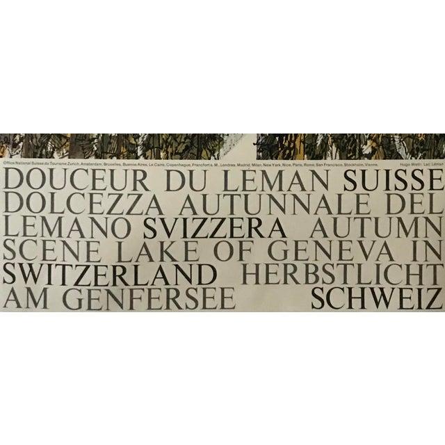 Vintage 1960s Swiss Travel Poster, Hugo Wetli, Lac Leman For Sale - Image 4 of 7