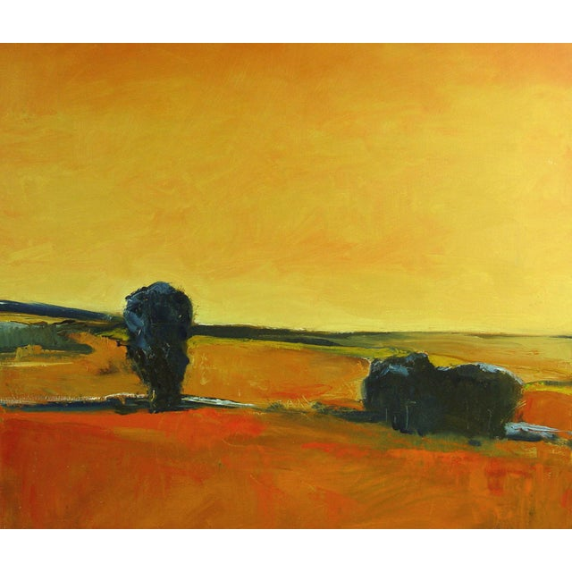 Warm sky landscape in shades of orange oil on linen by Brigitte Woosley. Signed lower right corner. Unframed.