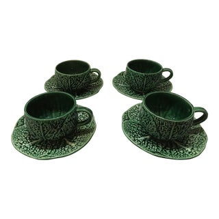 Vintage Majolica Cabbage Leaf Tea Coffee Cups & Saucers- Set of 4 For Sale