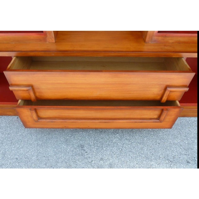 50's Hollywood Regency James Mont Coromandel Red Cabinet For Sale - Image 10 of 11