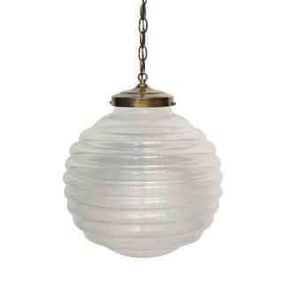 Handblown Italian Crystal Spherical Beehive Pendant Light For Sale