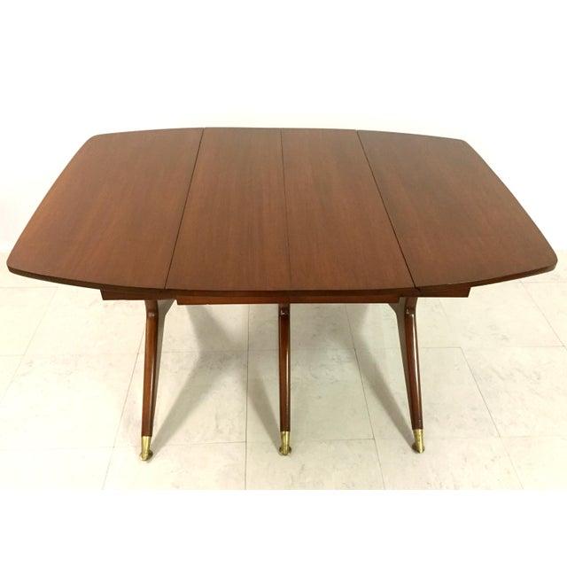 Gio Ponti Attr. Brass & Walnut Dining Table - Image 6 of 11