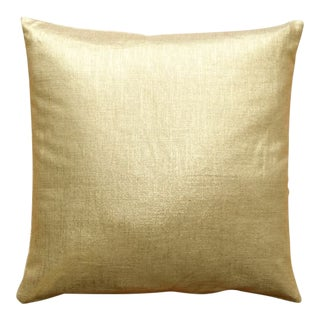 Tuscany Linen Gold Metallic 16x16 Pillow For Sale