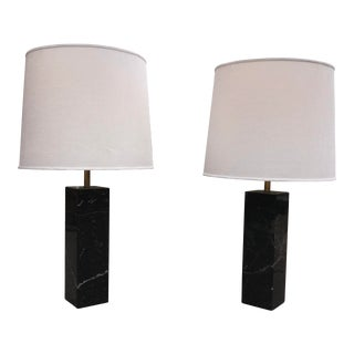 Nessen Block Table Lamps in Black Marble - A Pair For Sale