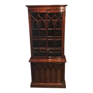Antique Gothic Revival Mahogany Bookcase Cabinet For Sale