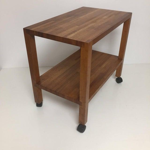 Wood Vintage Industrial Rolling Butcher Block Cart For Sale - Image 7 of 7