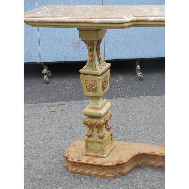 Neoclassical Florentine Marble Top Console Table For Sale - Image 3 of 9