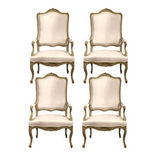 Early 19th C. French Louis XV Carved Painted Armchairs - Set of 4 For Sale
