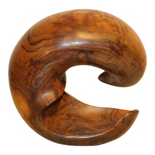 Nice Sculpture Out of Olive Wood by Noted Artist Leon Bronstein For Sale