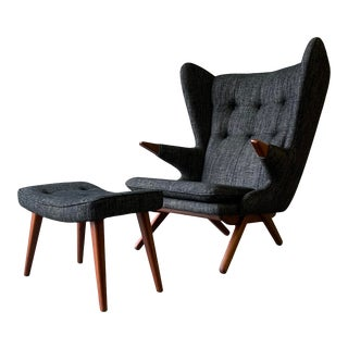 Papa Bear Styled Mid Century Modern Lounge Chair, Charcoal For Sale