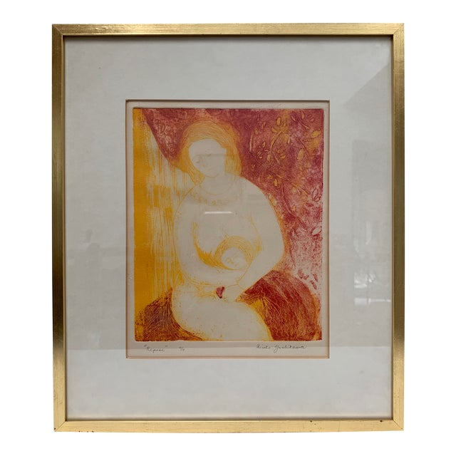 Mid-Century Modern Mother and Child Print by Hiroko Yoshikawa For Sale