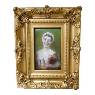 Rare Portrait of a Bar Maid Holding Beer Stein on Porcelain Tile For Sale