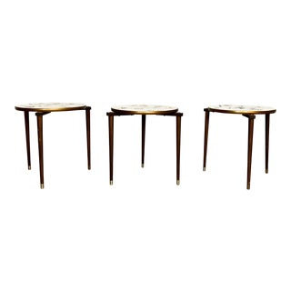 1960s Mid Century Modern Stiletto Tapered Brass Footed Nesting Tables For Sale