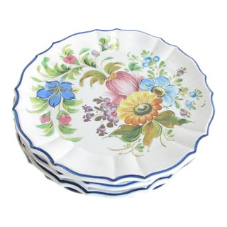 Vintage Hand-Painted Floral Italian Pottery Plates With Scalloped Rim - Set of 4 For Sale