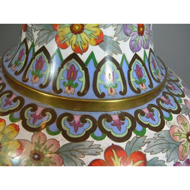 Large Vintage Chinese Millefleur Cloisonne Vase For Sale - Image 4 of 9