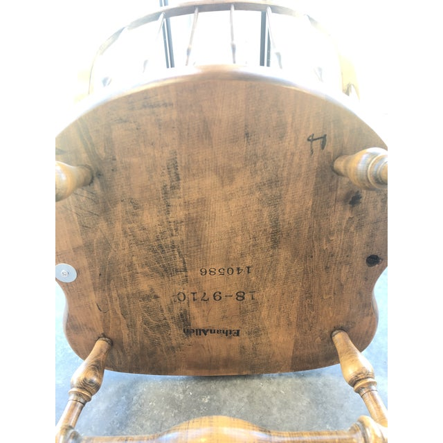 19th C. Ethan Allen Antique Solid Maple Windsor Rocking Chair For Sale - Image 9 of 13