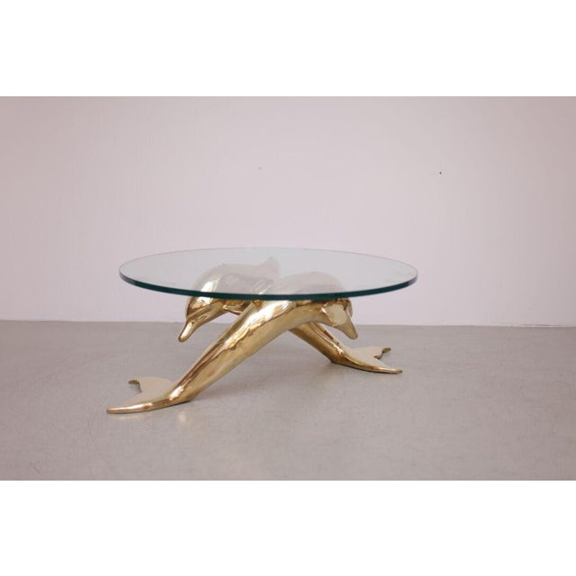 Brass Coffee Table in Form of Two Dolphins For Sale - Image 10 of 10