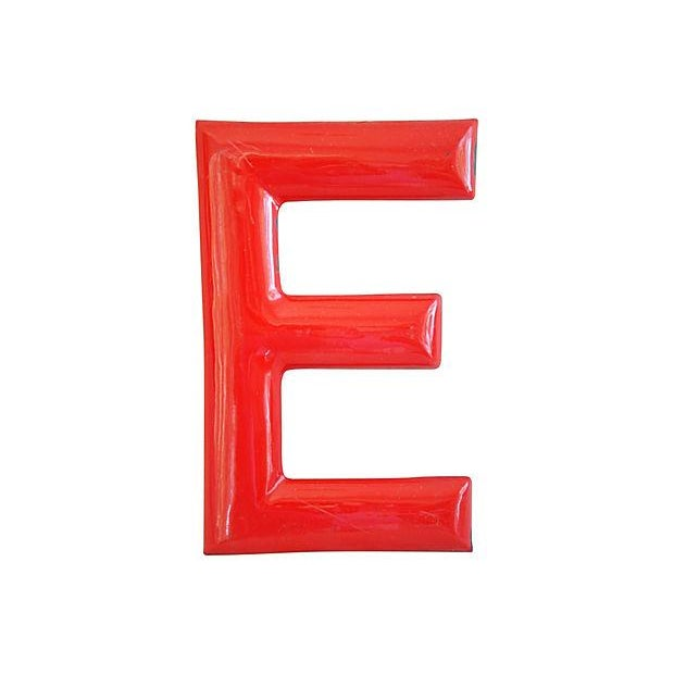 "18"" Large 1950s Red Enameled Porcelain Letter E - Image 1 of 4"
