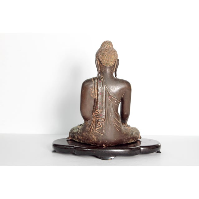 19th Century Patinated and Gilt Bronze Burmese Buddha For Sale - Image 4 of 11