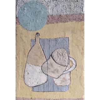 """Enni Contemporary """"Abstract Moon"""" Mixed Media Still Life Painting For Sale"""