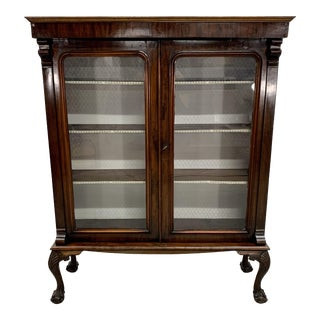 Beautiful and Rare Antique French Louis XV Mahogany Showcase China Cabinet For Sale
