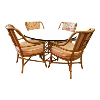 Vintage Glass-Top Rattan Dining Set