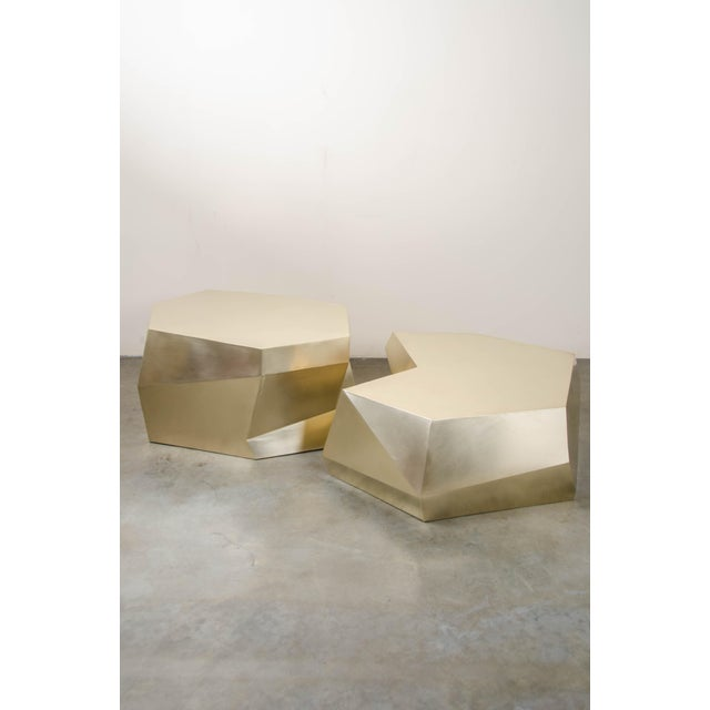 Robert Kuo Puzzle Facet Cocktail Table - Brass For Sale - Image 4 of 8