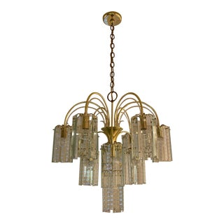 Mid-Century Modern Brass & Beveled Glass Chandelier For Sale