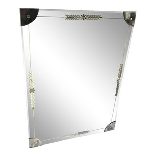 Mid-Century Large Etched Glass Wall Mirror