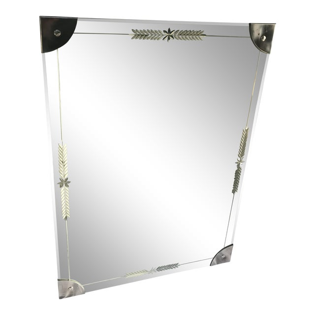 Mid-Century Large Etched Glass Wall Mirror For Sale