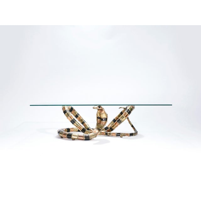 Metal Large Signed Isabelle Faure Cobra Coffee Table, 1970s For Sale - Image 7 of 13