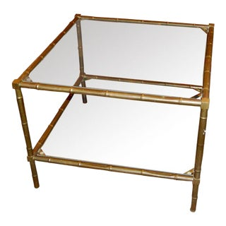 French 1960s Faux Bamboo Coffee Side Table For Sale