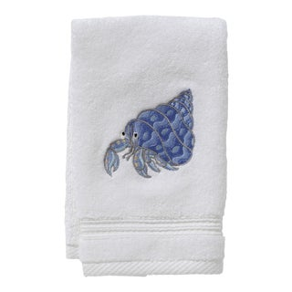 Blue Hermit Crab Guest Towel in White Terry, Embroidered For Sale