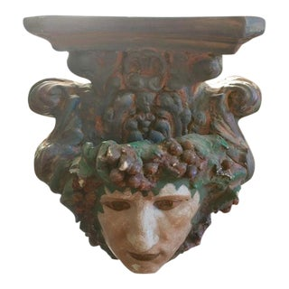 Antique Plaster Bacchus Wall Bracket For Sale