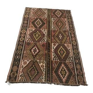 Vintage Anatolian Handmade Wool Tan Kilim Rug-3'11x5'8 For Sale
