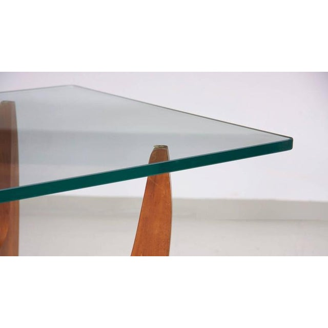 Large Brazilian Midcentury Coffee Table with Thick Glass Top For Sale - Image 4 of 8