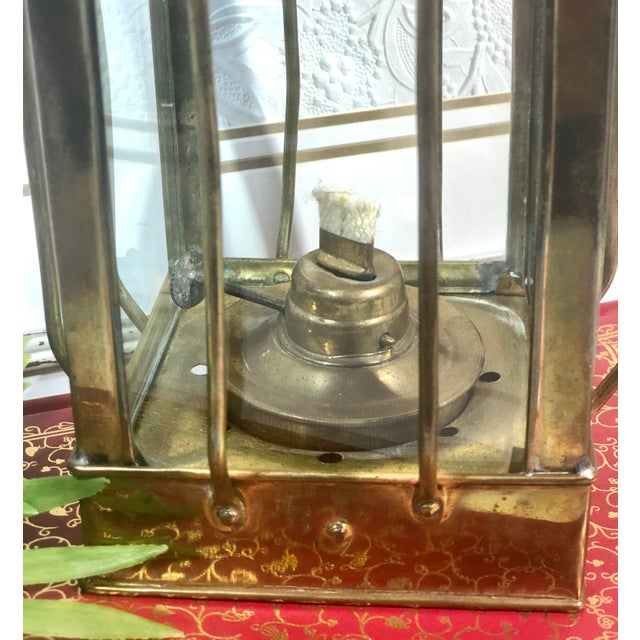 Vintage Nautical Marine Solid Brass Lantern Oil Lamp For Sale - Image 9 of 12