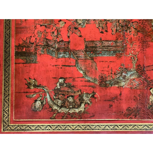 Chinese Red Lacquer & Gilt Low Coffee Table For Sale In New York - Image 6 of 13