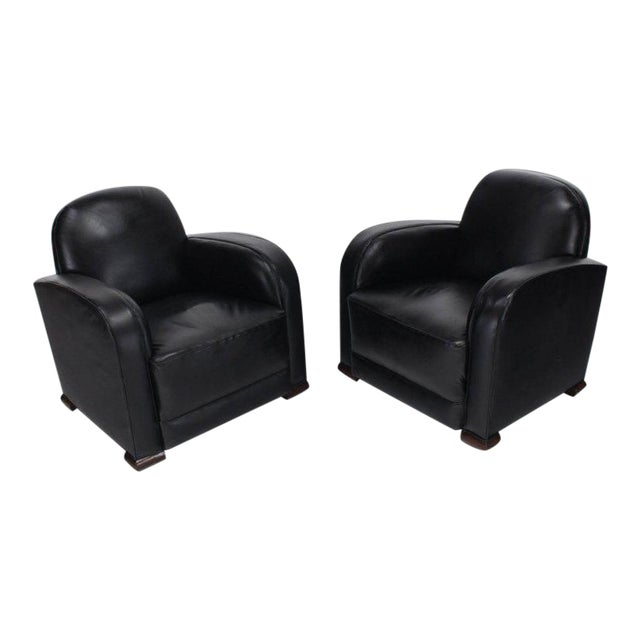 Deco Style Black Leather Thick Arm Rests Lounge Tank Chairs - a Pair For Sale
