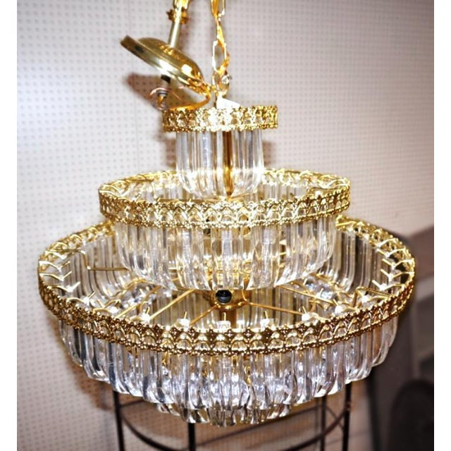 6-Tier Brass Lucite Chandelier Hanging Ceiling Light Fixture Lamp Shade Modern For Sale - Image 4 of 6