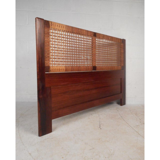 Midcentury Queen Sized Rosewood and Cane Headboard For Sale - Image 11 of 11